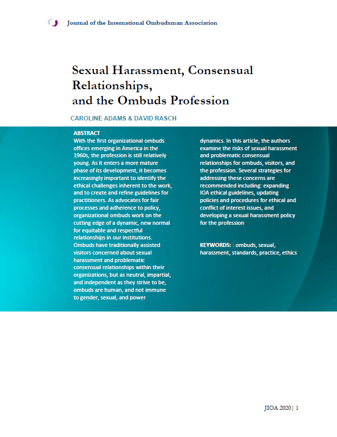 "Title Page for ""Sexual Harassment, Consensual Relationships, and the Ombuds Role"""