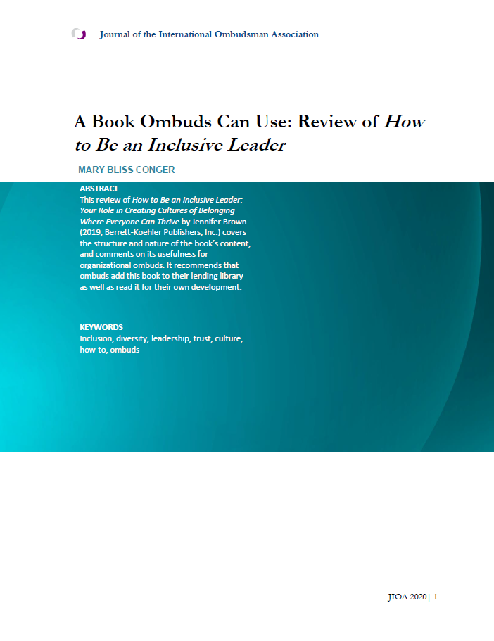 "Title page for JIOA Article ""A Book Ombuds Can Use: Review of How to Be an Inclusive Leader"""