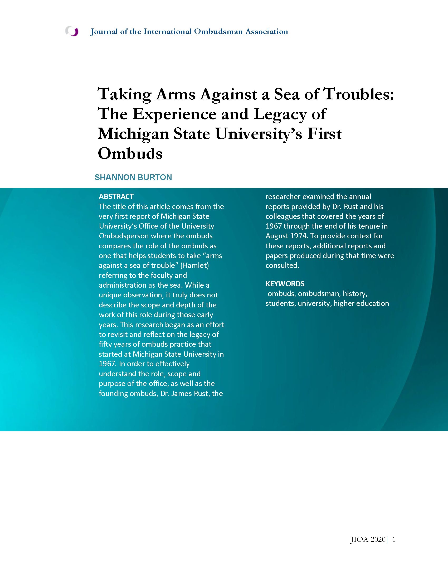 Cover Page for Taking Arms Against a Sea of Troubles: The Experience and Legacy of Michigan State University's First Ombuds