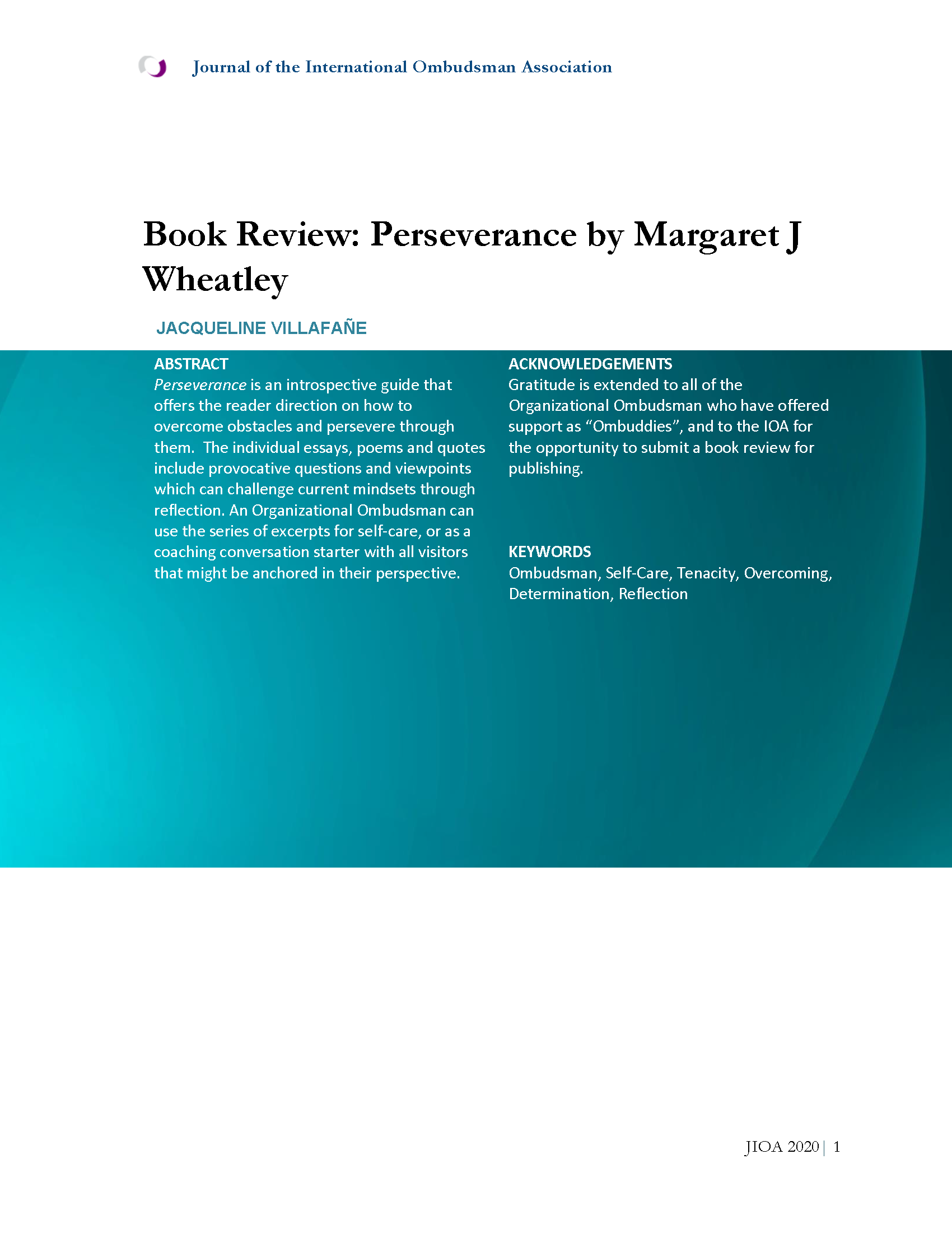 Cover Page for Book Review: Perseverance by Margaret J Wheatley